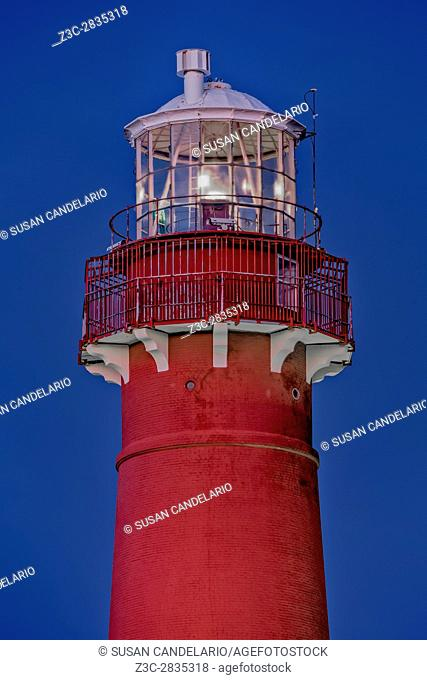 """Barnegat Lighthouse - Close view to the tip of Barnegat Lighthouse or Barnegat Light, colloquially known as """"""""Old Barney"""""""""""