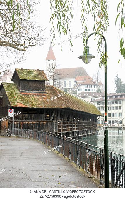 Thun, Switzerland - December 6, 2015: view of the old bridge. Thun is a medieval city in the administrative district of Thun in the canton of Bern