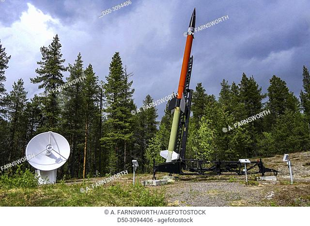 A rocket used for atmospheric research in the parking lot of the Esrange space research facility used by the European Space Agency or ESA