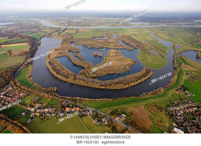 Aerial view, former bend of the Rhine river, Xanten Altrhein nature reserve, lakes, Maasmannsmardt, Bislicher Insel island, Xanten, Niederrhein region