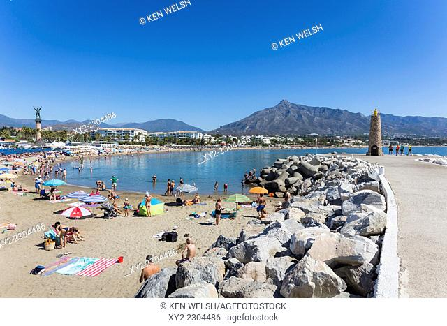 Marbella, Costa del Sol, Malaga Province, Andalusia, southern Spain. Jose Banus beach. La Concha mountain in background