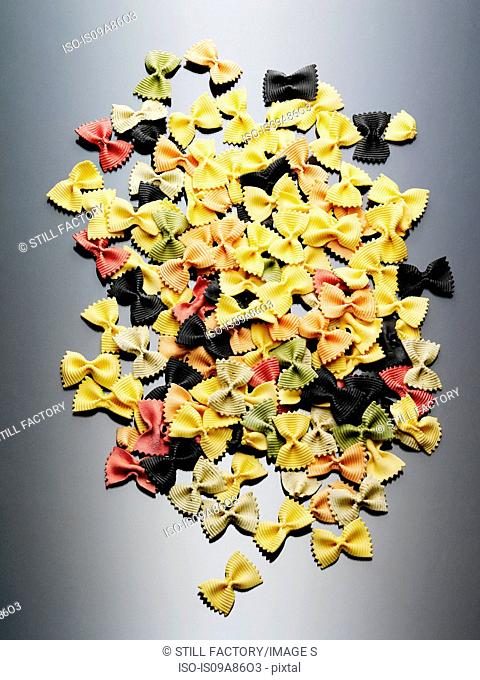 Colorful still life of dried farfalle pasta