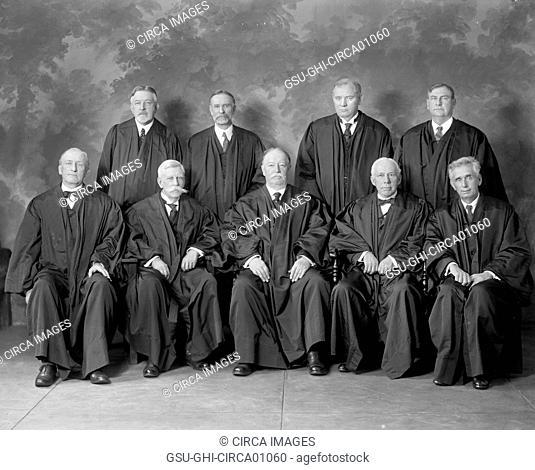 U.S. Supreme Court Justices with Chief Justice William Howard Taft (bottom row, center), Washington DC, USA, circa 1925
