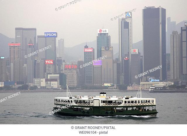 Star Ferry Travelling Between Hong Kong Island and Kowloon, Hong Kong, China