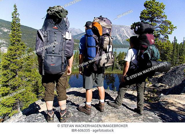 Hikers enjoying a scenic view, mountain landscape, Chilkoot Trail, British Columbia, Canada