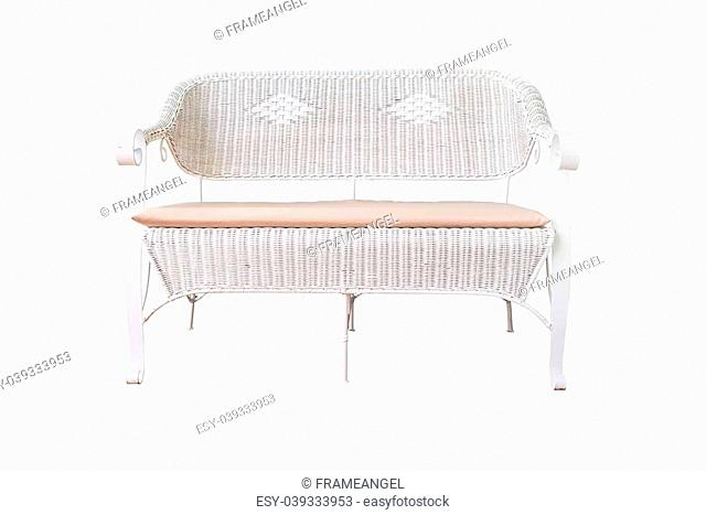 sofa furniture weave bamboo chair on white background