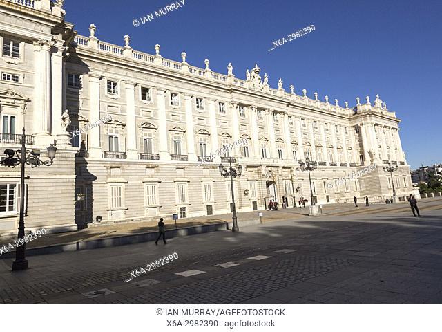 Frontage of Palacio Real royal palace, Madrid, Spain