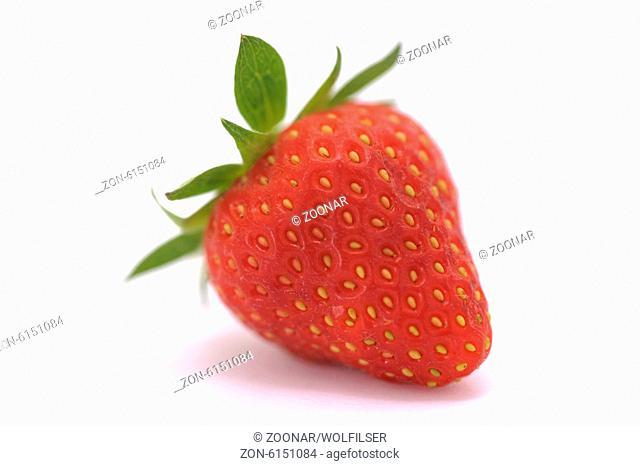single strawberry isolated over white