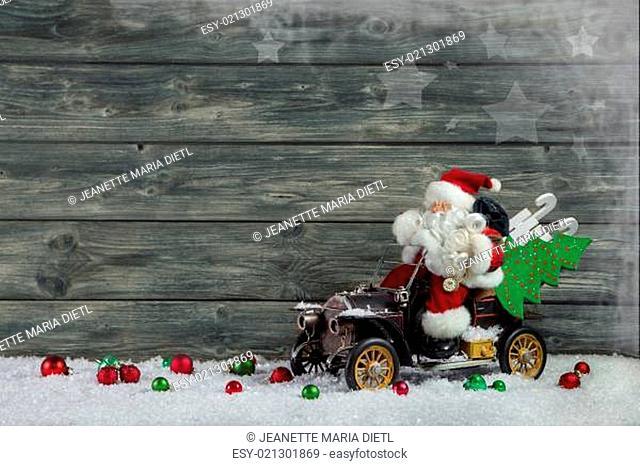 Funny christmas greeting card with santa claus and xmas presents