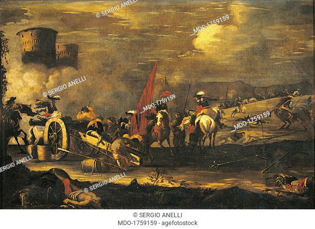 Battle Scene, by Unknown Northern European artist, ca. 1690 - 1710, 18th Century, oil on canvas, 108 x 166 cm. Italy, Lombardy, Milan, Castello Sforzesco