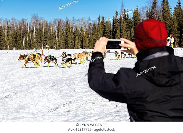 A woman tourist takes an smart phone photo of a musher in the start of the Iditarod Race on Willow Lake, Alaska, USA, Winter