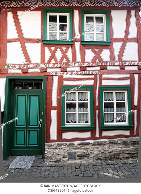 Historic half-timbered house in Bacharach village on Rhine River in Germany