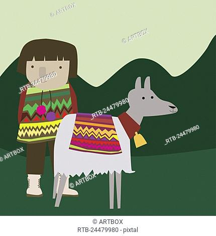 Girl standing with a donkey