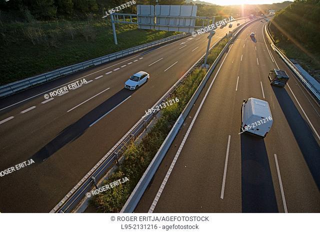 Highway viewed from above bridge, Gelida, Spain