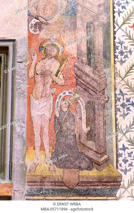 Frescoes in the town church, former minster, Stein at the Rhine, Lake of Constance, Thurgau, Switzerland