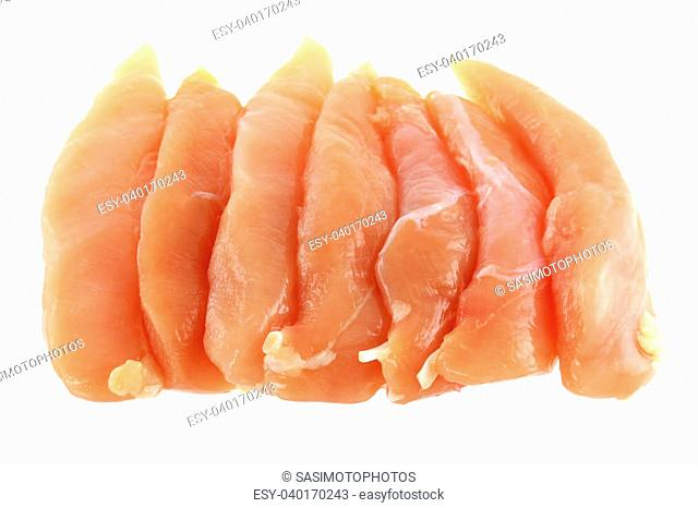 Raw and Fresh Chicken Breast Fillet isolated on white