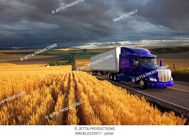 Truck driving on remote highway
