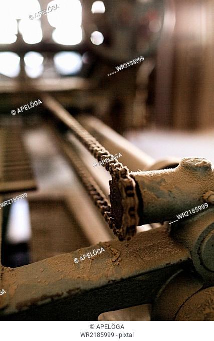 Close-up of machine in workshop