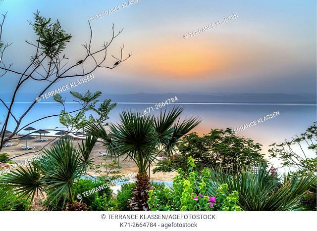 The Marriott Hotel resort at sunset on the Dead Sea, Hashemite Kingdom of Jordan, Middle East