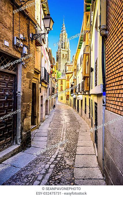 Toledo, Spain alleyway towards Toledo Cathedral