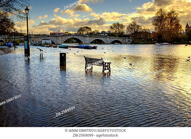 High Tide,River Thames at Richmond Upon Thames,London,UK
