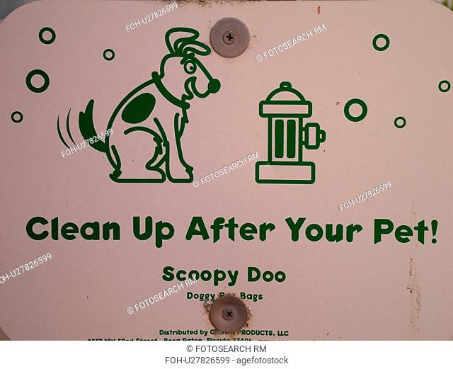 Daytona Beach, FL, Florida, Daytona Beach Shores, Atlantic Ocean, Ocean Walk, beach signs, clean up after your pet