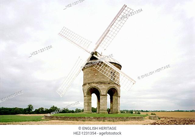 Chesterton windmill, Warwickshire, July 1999. Chesterton windmill is of unusual design, being built on a circular arcade