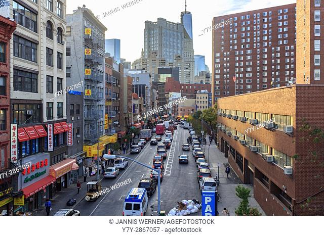 Division Street on the Lower East Side from the Manhattan Bridge Overpass near sunset in New York, NY, USA