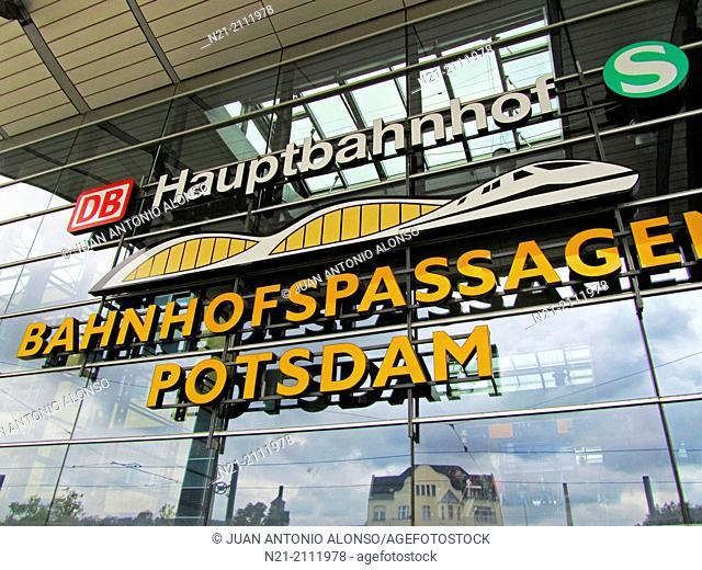 Potsdam Hauptbahnhof - Main railway station main entrance. Potsdam, Berlin-Branderburg Region, Germany, Europe
