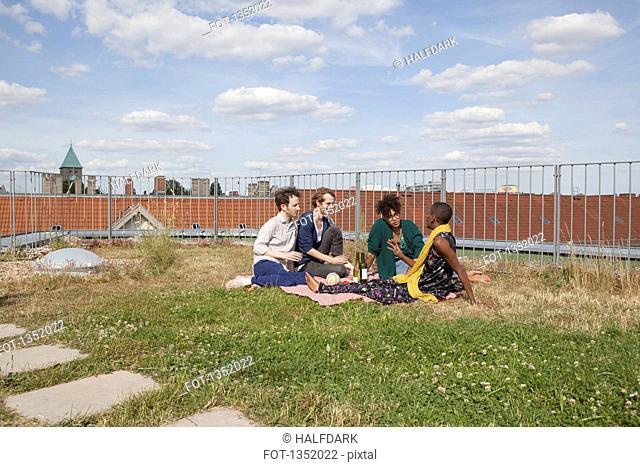 Friends spending leisure time on terrace garden