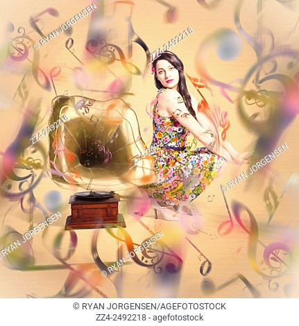 Colorful artistic photo of a fashionable clubbing housewife sending out retro music notes on abstract design gramophone. Pin-up the sound of nostalgia
