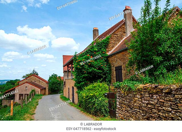 Old French house exterior in Burgundy, France