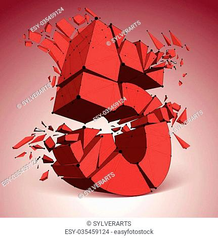 3d vector low poly red number 5 with black connected lines and dots, geometric wireframe font with refractions. Perspective shattered digit with thread