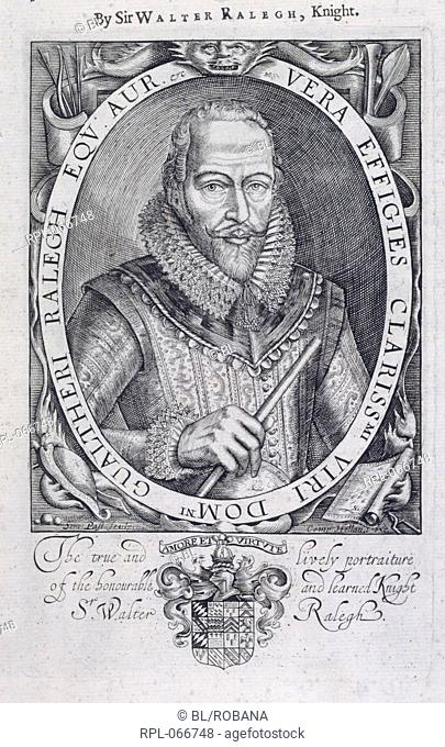 Sir Walter Raleigh 1552-1618. English courtier, navigator and poet. Portrait. Image taken from The Historie of the World. In five bookes