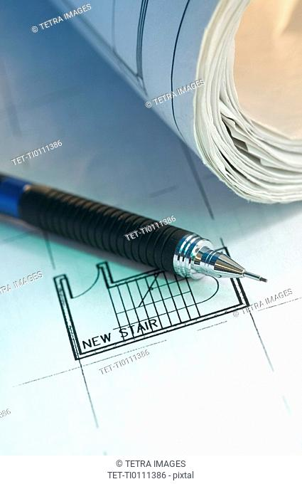 Architectural tool and blue prints