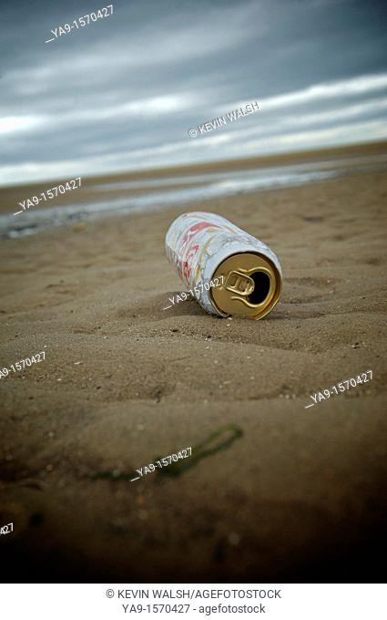 Beer can on the shoreline