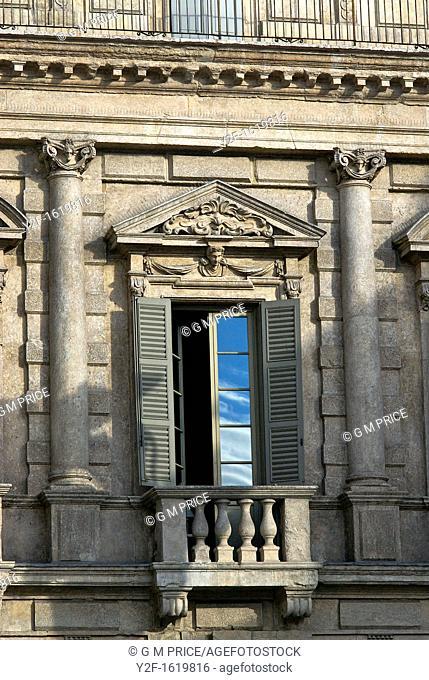 window in Palazzo Maffei, Piazza delle Erbe, Verona, Italy