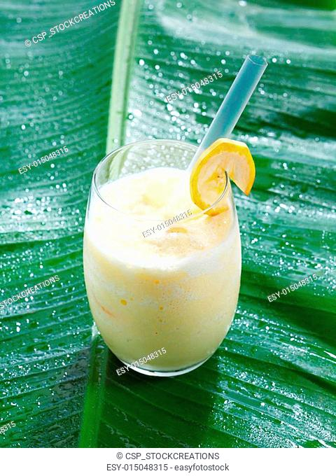 Single glass of chilled banana smoothie