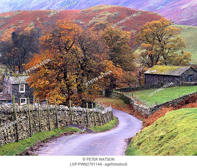 England, Cumbria, Martindale. View along a winding country lane towards the remote Cumbrian village of Martindale in the Lake District