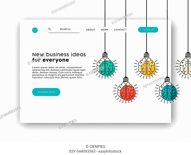 Web landing page for online app or business ideas. Internet website layout with concept background illustration. EPS10 vector