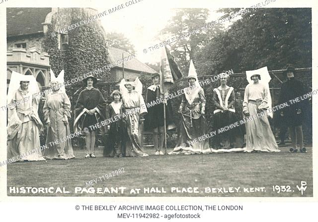 Dartford Division of Kent Historical Pageant which was held at Hall Place, Bexley in July 1932. Group dressed in medieval costume