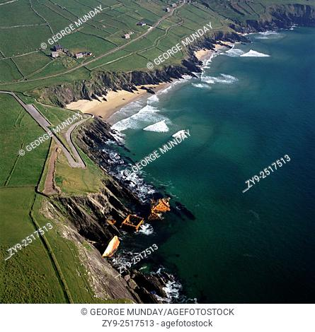 The remnants of the MV Ranga, a 1,586 tonne container ship,. Wrecked on Slea Head on the Dingle Peninsula,. County Kerry, Ireland