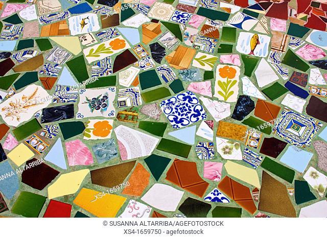 Trencadis tile on the floor of artisan's Trade Fair, Pilar de la Mola in Formentera, Balearic Islands, Spain, Europe
