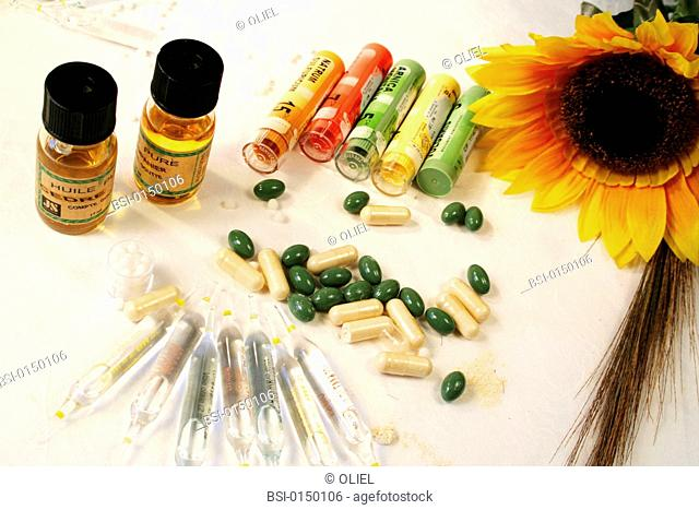 Essential oils, flasks and granules of homeopathy, capsules of phytotherapy, oligoelements vials