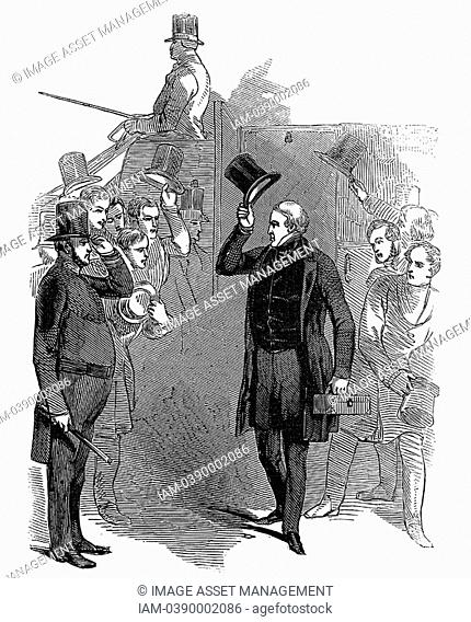 Robert Peel 1788-1850 British statesman, arriving at House of Commons, January, 1846, being saluted by a member of the London police force which he reformed