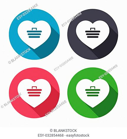 Love Shopping Cart sign icon. Online buying. Circle buttons with long shadow. Vector