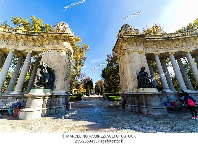 Monument to Alfonso XII, Buen Retiro park, Madrid. Spain. Europe