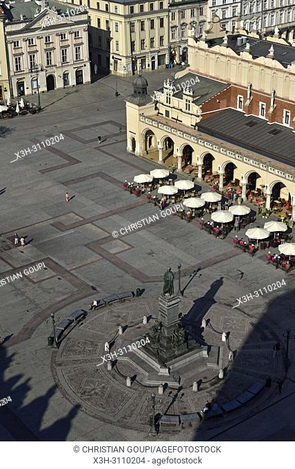 Adam Mickiewicz Monument, the Cloth Hall (Sukiennice) and Town Hall Tower seen from the highest tower of the St. Mary's Basilica, Rynek Glowny