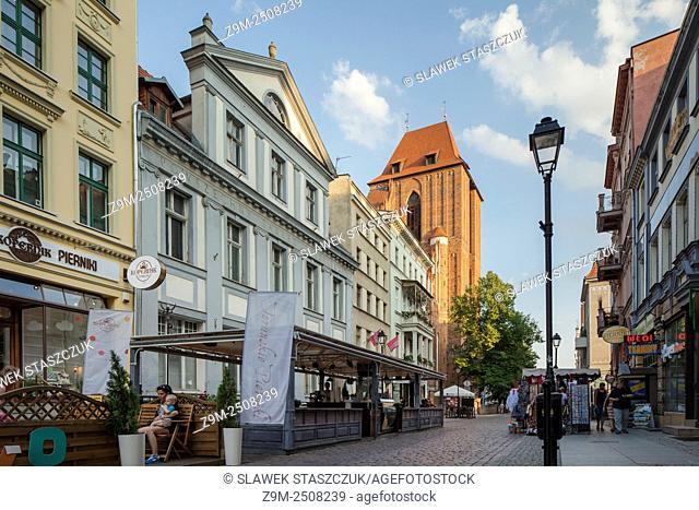 Afternoon on Zeglarska (Sailors' Street) in Torun old town, Kujawsko-Pomorskie province, Poland. UNESCO World Heritage Site