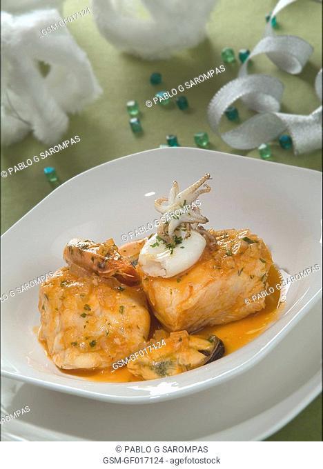 Hake and seafood casserole
